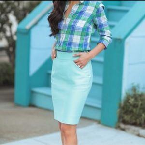 J.Crew the pencil skirt mint midi career casual